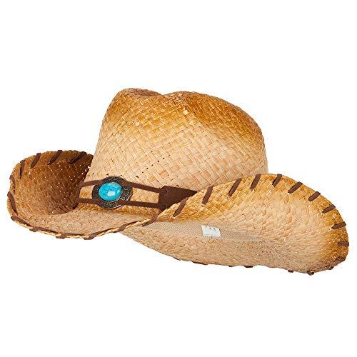 (Women's Turquoise Detailed Straw Cowboy Hat - Raffia OSFM)