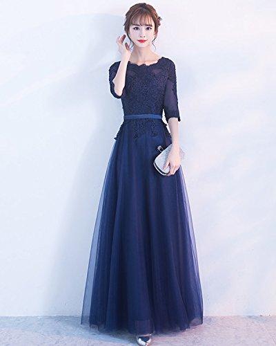LuckyShe Damen Tüll Elegant Lang Abendkleider Ballkleid mit Ärmeln ED1722 Rot 1sjddn