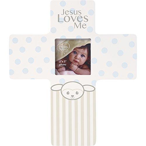 Precious Moments Precious Lamb Jesus Loves Me Cross Photo Frame Boy - Cross Jesus Lamb Little