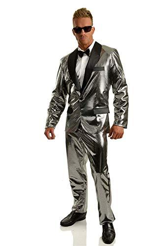 Charades Men's Costume Disco Ball Tuxedo Jacket, Silver/Black, Large -