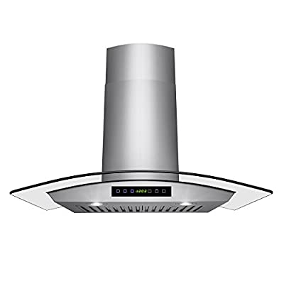 "Golden Vantage 30"" Wall Mount LED Display Touch Control Stainless Steel/Tempered Glass Vent Range Hood w/ Multi Layer Aluminum Mesh Grease Filter (30"" Tempered Glass)"