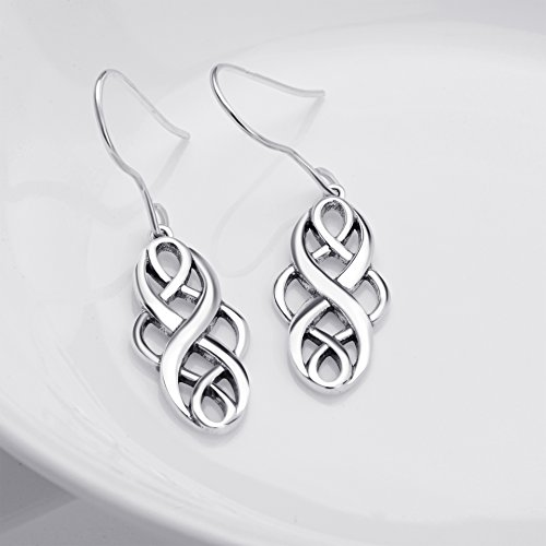 S925 Silver Earrings Solid Sterling Silver Polished Good Luck Irish Celtic Knot Vintage Dangles (Oxidation) by Angel caller (Image #3)