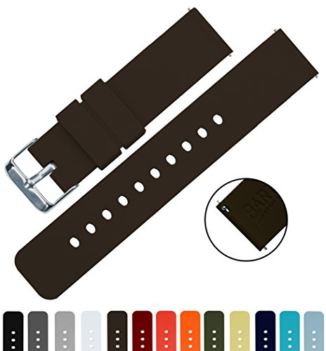 BARTON Silicone Quick Release - 24mm Width - Choice of Color - Chocolate Brown 24mm Watch Band Strap