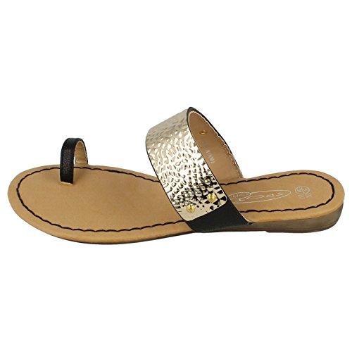 Ladies Spot On Low Wedge Sandal Black qYYbJNO