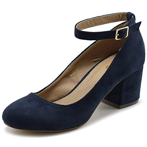 Ollio Womens Shoe Faux Suede Basic Chunky Mid Heel Ankle Strap Pumps MG36 (10 B(M) US, Navy) (Shoes Strap Pump Ankle)