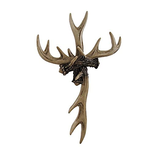 Resin Wall Crosses Rustic Deer Antler Wall Cross Lodge Cabin Decor 9 X 14 X  1 Inches Off White Model # 12607