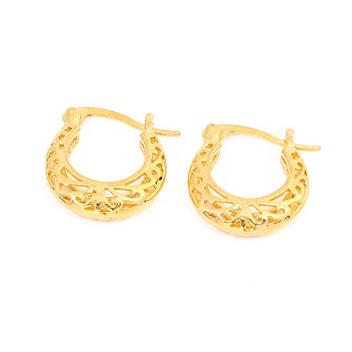 Filigree Basket (Cute Filigree Basket Hollow Out Geometry Gold Plated Clip Hoop Earring)