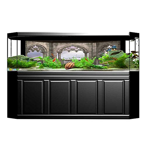 (UHOO2018 Fish Tank Background Collection Medieval Stone Balcony with Curvings Graphic Design Mystic Middle Age Legend St Pictures PVC Decoration Paper Cling Decals Sticker 23.6
