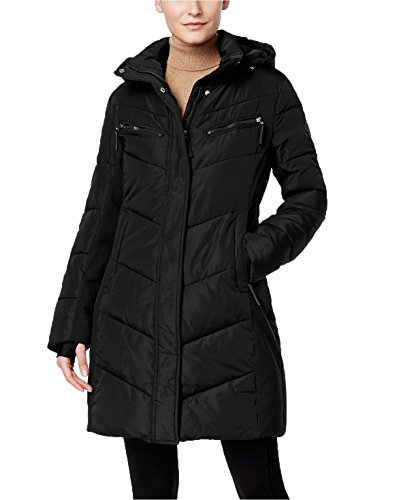 Calvin Klein Hooded Water-Resistant Puffer Coat in Black, Size XL]()
