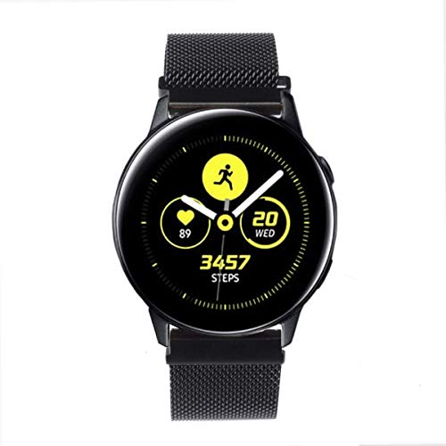 GOSETH Compatible with Samsung Galaxy Watch Active (40mm) Bands, 20mm Mesh Stainless Steel Metal Adjustable Replacement Band Compatible with Galaxy Watch Active 40mm (Black)
