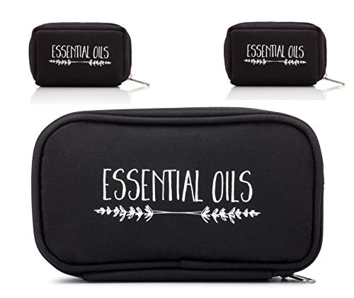 The Oil Owl – Essential Oil Carrying Case – Black Lavender Branches – 10 Bottles – Travel Bags for Young Living, Do…