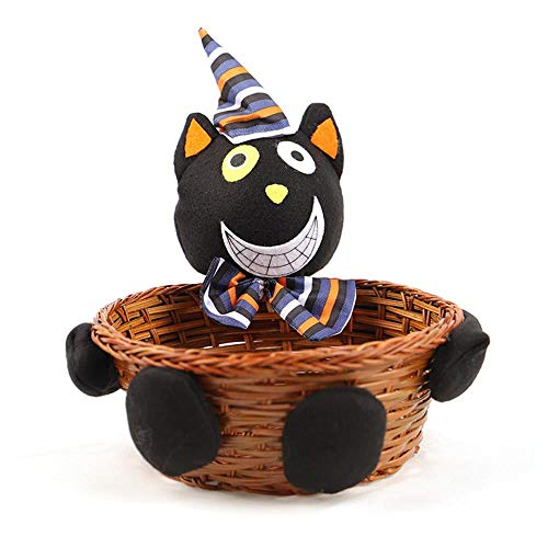 FTXJ Candy Basket Halloween Doll Fruit Decoration Bowl Ghost Candy Basket Home Decor Hand Woven (16x20x20CM, Black)