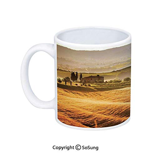 (Tuscan Coffee Mug,Siena Tuscany Retro Farm House Trees Old Path Country Landscape on Sunset,Printed Ceramic Coffee Cup Water Tea Drinks Cup,Ginger and Green)