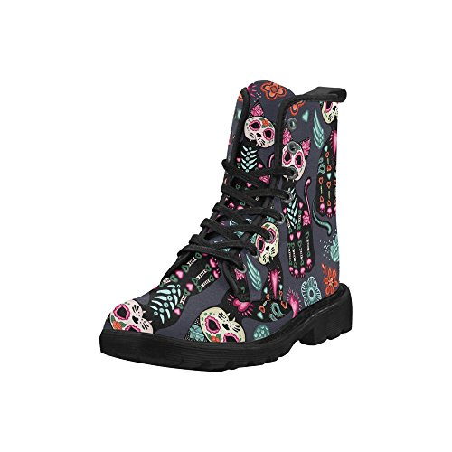 Interestprint Fashion Schoenen Day Of The Dead Halloween Cats Lace Up Boots Voor Dames Zwarte Zool