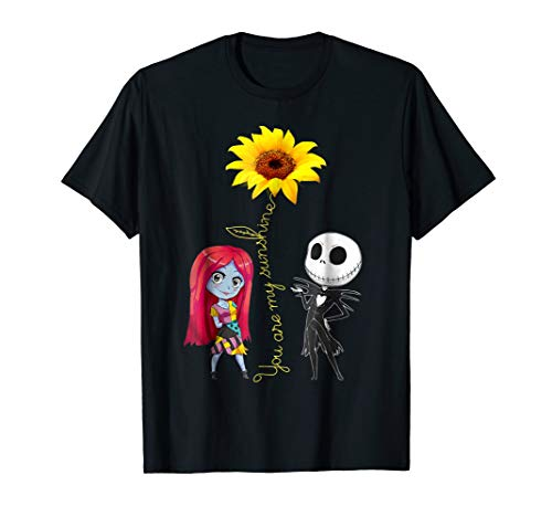 You Are My Sunshine Sunflower Jack-Skellington-Sally Shirt]()
