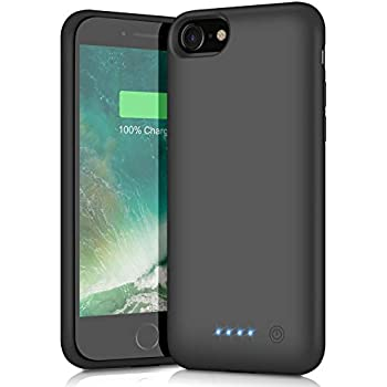 QTshine Battery Case for iPhone 6/6s/7/8, Upgraded [6000mAh] Protective Portable Charging Case Rechargeable Extended Battery Pack for Apple iPhone 6/6s/7/8 (4.7') - Black