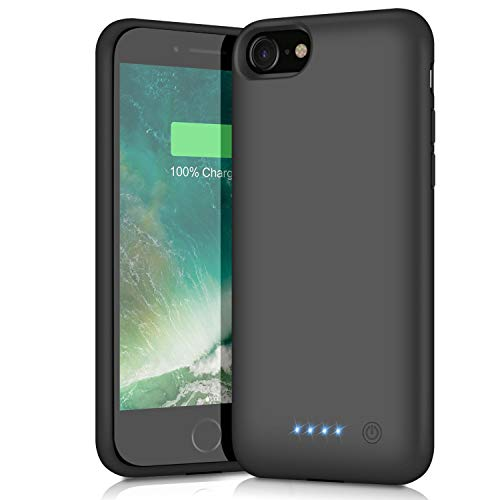 Best QTshine Battery Case for iPhone 6/6s/7/8, Upgraded [6000mAh] Protective Portable Charging Case Rechargeable Extended Battery Pack for Apple iPhone 6/6s/7/8 (4.7') - Black