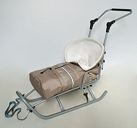 Bebé Infantil Trineo con Pluma, Asidero y Respaldo (extraíble) trineo de bebé + Saco de dormir azul oscuro: Amazon.es: Bebé