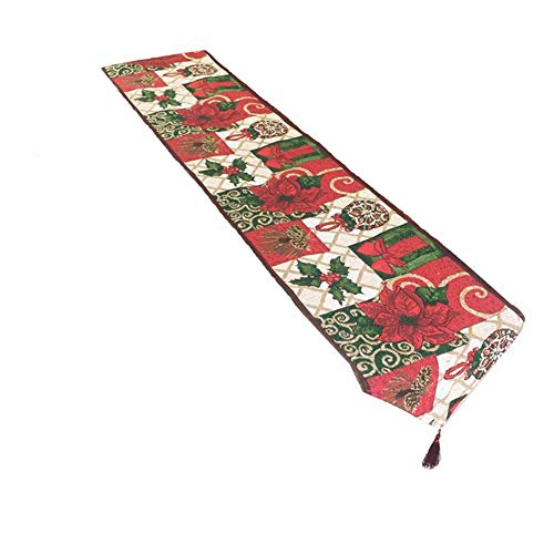 FinerMe Christmas Decorative Table Runner 13 x 71 inch Jacquard Weave Red Poinsettia Green Leaves Joy Peace Love Christmas Flower Soft Table Cloth Home Wedding Party Table Decor