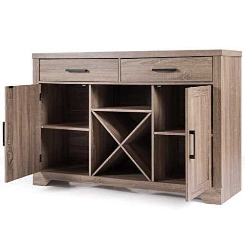 Giantex Buffet Cabinet Sideboard with Two Drawers Two Cabinets One Shelf and 4 Bottle Wine Rack Dining Room Home Furniture Console Storage Cabinet, Natural by Giantex (Image #8)