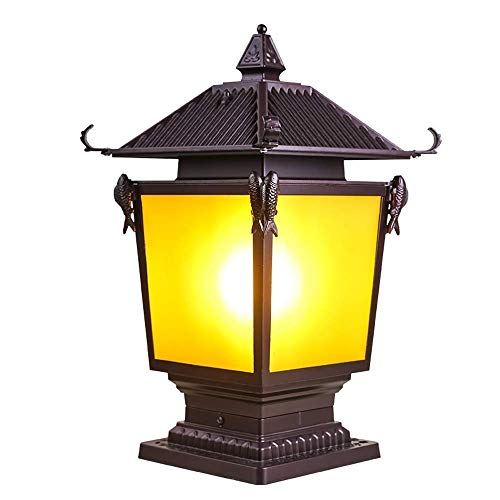 Mingc Europe Glass Lantern Wall Column Lights Chinese Outdoor Garden Pillar Lamp Retro Chapiter Residential LED Panel Wall Lamps Lustre Sconce Porch Outside Fence Boundary Villa Park [Energy Class A]