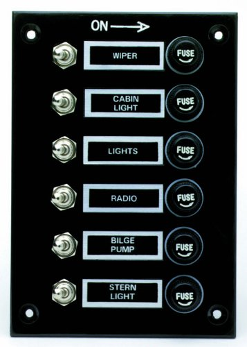 attwood Toggle Switch Panels with Fuses (6-1/2-Inch)