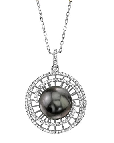 18K Gold 12mm Tahitian South Sea Pearl & Diamond Karen Pendant - AAA Quality