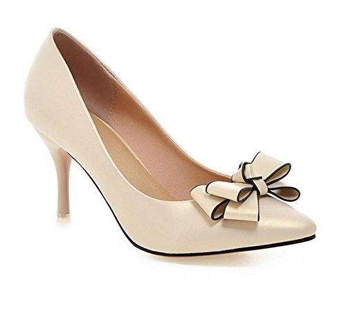 XIE Apuntó los Zapatos Planos del Color Sólido de la Boca Baja del Dedo del pie El Viento Dulce Elegante Fino con los Zapatos de la Corte de los Altos Talones, Pink, 37 APRICOT-40