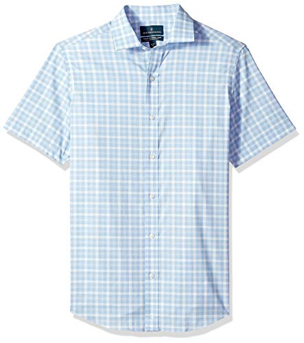 BUTTONED DOWN Men's Tailored Fit Stretch Spread-Collar Short-Sleeve Non-Iron Shirt, Light Blue Plaid, 17.5