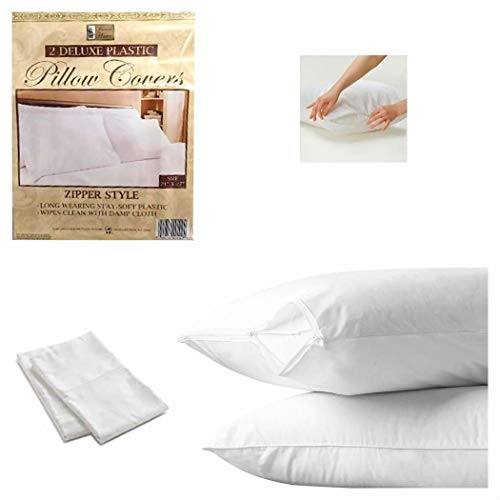 "2 White Hotel Pillow Plastic Cover Case Waterproof Zipper Protector Bed 21""X27"" from Unknown"