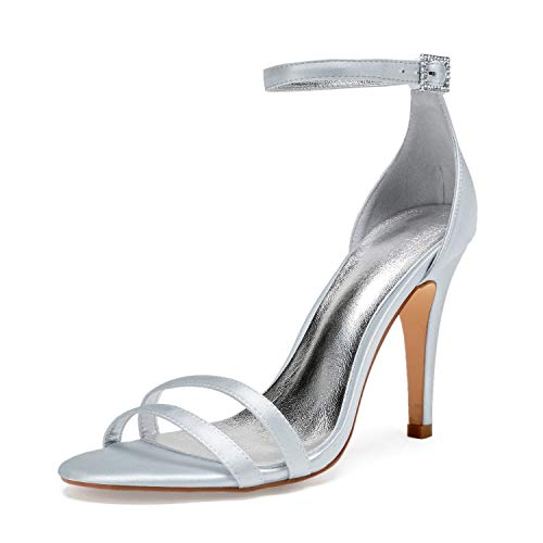 Elobaby Women Wedding Shoes Toe Open Silk Dress Party Satin Kitten Heels Buckle Evening High Heels/10.5 cm Heel, Silver, ()