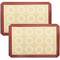 DIRECT FROM FACTORY Silicone Baking Mat (Pack of 2) - 16.5 x 11.5 inches, Reusable Baking Mat for Cookies, Macarons…