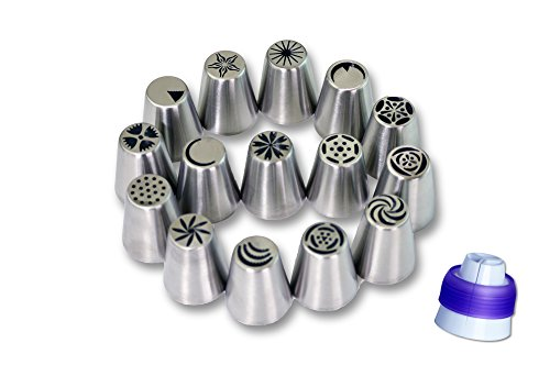 New Russian Piping Tips - Piping Nozzles Cake Decorating - Flower Icing Tips – 16 Piece Set – Large Size – By Anmig Kitchen