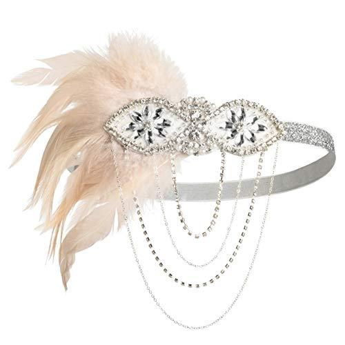 1920s Gatsby Flapper Feather Headband 20s Accessories Crystal Beaded Wedding Headpiece -