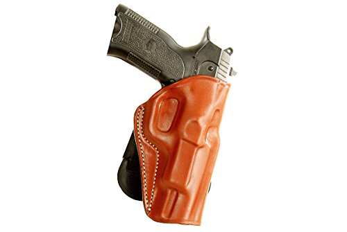 LEATHER PADDLE OWB HOLSTER FOR BROWNING BLACK LABEL 1911-380 PRO. 4.25''BARREL R/H DRAW, BROWN COLOR