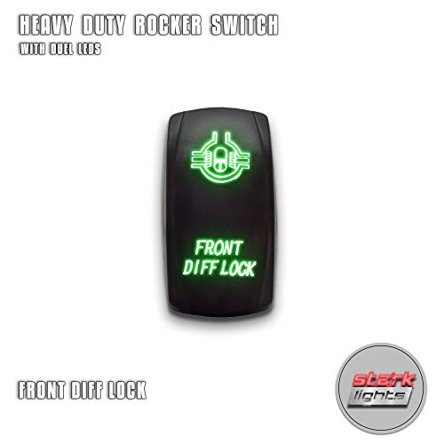 (FRONT DIFF LOCK - Green - STARK 5-PIN Laser Etched LED Rocker Switch Dual Light - 20A 12V ON/OFF)