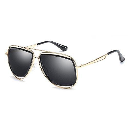 Diseño UV400 mujeres los retro masculinas Gafas de grandes las las hombres del oro de mujeres de de para retro sol Gafas del aviador diseñador marco clásicas Negro 4nPwBqTOx1