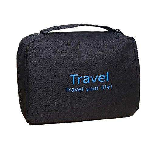 Hanging Waterproof Multi Pockets Toiletry Bag,Shaving Kit Bag,Travel Kit (Black)