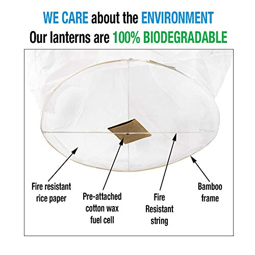 All Natural Shop 11 Pack White Chinese Sky Lanterns to Release in Sky - Eco Friendly, 100% Biodegradable. Wire-Free Paper Japanese Prime Lantern