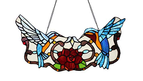 (Yolic Tiffany Style Stained Glass Hummingbird Floral Window Panel Hanging 18