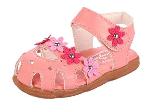 Lukis Baby Mädchen Blumen Sandalen Lauflernschuhe Faux PU Leder Rosa1