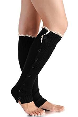 Avidlove Women Socks Knitted Boot Cuffs Button Leg Warmers Crochet Lace Trim Black (FBA)