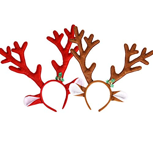 2 Pack Christmas Reindeer Antlers Headband Deer Hairband Deer Horn Headbands, Christmas Decorations Ornaments Cosplay Costume for Christmas Party Easter Day Party Halloween Party Accessories -