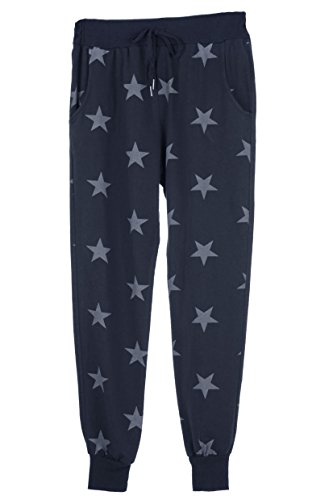 TEXTURE Ladies Womens Italian Lagenlook Star Print Cotton Jersey Pants Trousers Joggers One Size (One Size, Navy)
