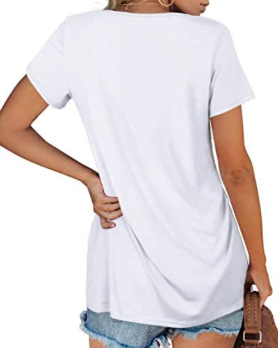 Jescakoo Womens V Neck T Shirts Short Sleeve Tops Casual Loose Fit