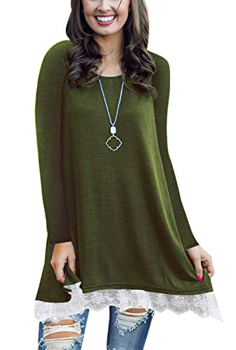 Women Line (WEKILI Women's Tops Long Sleeve Lace Scoop Neck A-line Tunic Blouse ArmyGreen M/US 8-10)