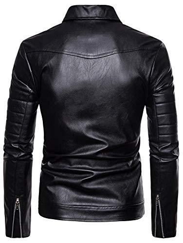 vestiti Risvolto Casual E Giacca Zip Nero In Shuzhen Con Pelle dxwdf