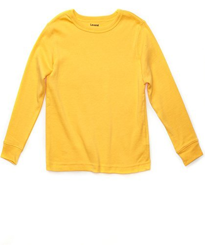 Leveret Long Sleeve Solid T-Shirt 100% Cotton (8 Years, - With Yellow