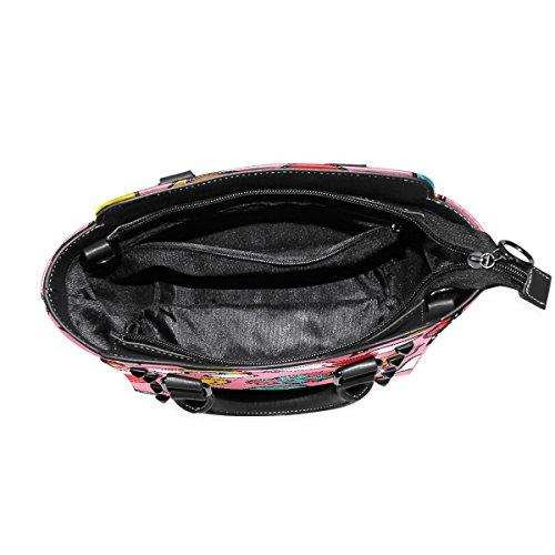 Griff Umhängetasche COOSUN PU Art Schultertasche Handtasche Patch Top Emoji Muster Pink Stitch Tote Frauen Pop Leder ZqF7rZSw