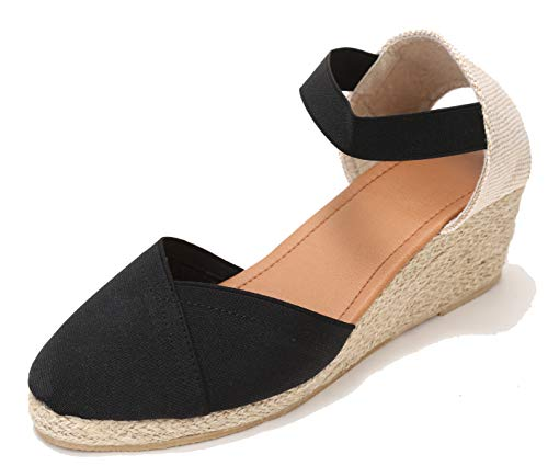 U-lite Women's Close-toeAnkle-Strap Summer Outdoor Casual Wedges Sandals Black8.5